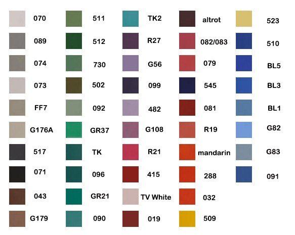 Aquacolor 8ml Farbauswahl Tabelle
