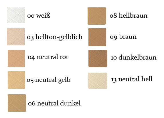 Kompaktpuder Grimas Farbauswahl Tabelle
